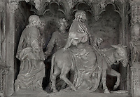 The triumphal entry of Christ into Jerusalem, by Jean-Baptiste Tuby the Younger, 1703-05, from the choir screen, Chartres Cathedral, Eure-et-Loir, France. Chartres cathedral was built 1194-1250 and is a fine example of Gothic architecture. It was declared a UNESCO World Heritage Site in 1979. Picture by Manuel Cohen.
