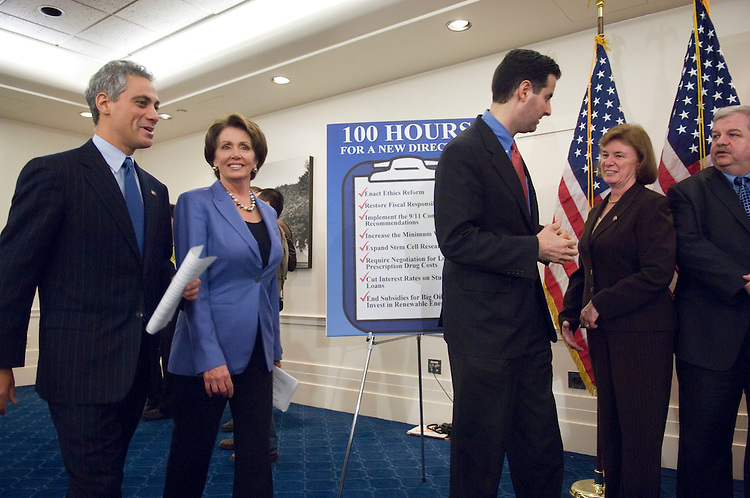 "01/18/07--House Speaker Nancy Pelosi, D-Calif., and DCCC Chairman Rahm Emanuel, D-Ill., arrive for a news conference with other House Democrats on the completion of the first 100 legislative hours of the 110th Congress. They touted their ""100 Hours for a New Direction,"" citing the passage of an ethics package; fiscal legislation; implementation of 9/11 Commission recommendations; an increase in the minimum wage; legislation allowing the expansion of stem cell research; negotiation for prescription drugs; lower interest rates on student loans; and energy legislation. Congressional Quarterly Photo by Scott J. Ferrell"