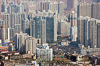 Shanghai skyline of high rise apartment blocks seen from the Oriental Pearl Television Tower, China