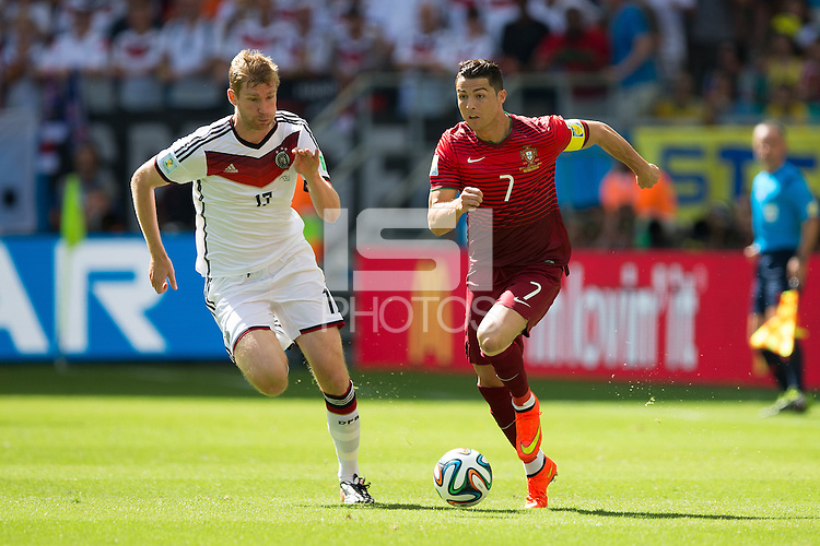 Christian Ronaldo of Portugal and Per Mertesacker of Germany