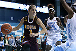 21 November 2015: Iona's Marina Lizarazu (ESP) (1) drives towards North Carolina's Jamie Cherry (right) as Destinee Walker (24) trails the play. The University of North Carolina Tar Heels hosted the Iona College Gaels at Carmichael Arena in Chapel Hill, North Carolina in a 2015-16 NCAA Division I Women's Basketball game. UNC won the game 64-52.