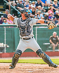 31 July 2016: Connecticut Tigers catcher Austin Athmann in action against the Vermont Lake Monsters at Centennial Field in Burlington, Vermont. The Lake Monsters edged out the Tigers 4-3 in NY Penn League action.  Mandatory Credit: Ed Wolfstein Photo *** RAW (NEF) Image File Available ***
