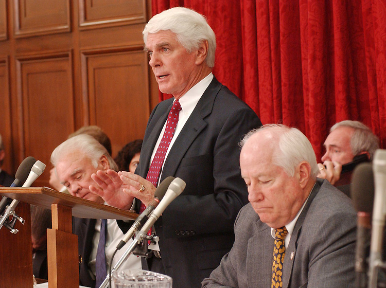 10/9/03.FISCAL 2004 SUPPLEMENTAL FOR IRAQ AND AFGHANISTAN--Jerry Lewis, R-Calif., during the House Appropriations Committee markup of draft legislation that would make fiscal 2004 supplemental appropriations for operations in Iraq and Afghanistan. Chairman C.W. Bill Young, R-Fla., is at left, Jim Kolbe, R-Ariz., at right..CONGRESSIONAL QUARTERLY PHOTO BY SCOTT J. FERRELL