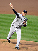 New York Yankees pitcher Freddy Garcia (36) pitches in the first inning against the Baltimore Orioles at Oriole Park at Camden Yards in Baltimore, MD on Tuesday, April 10, 2012..Credit: Ron Sachs / CNP.(RESTRICTION: NO New York or New Jersey Newspapers or newspapers within a 75 mile radius of New York City)