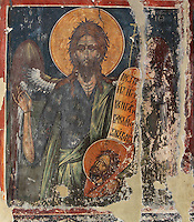 Fresco of St John the Baptist, 1578, by Nikolla Onufri, son of Onufri, in the 13th century Church of St Mary of Blachernae or Kisha e Shen Meri Vllahernes inside Berat Castle or Kalaja e Beratit, in Berat, South-Central Albania, capital of the District of Berat and the County of Berat. Picture by Manuel Cohen