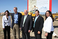 May 30 2008.  Liberty Station, Point Loma, CA, USA.  XX of McMillin Construction, Councilmember (District 2) Kevin Faulconer, San Diego, City Mayor Jerry Sanders, Scott McMillin and Stacey LoMedico perform a ground breaking ceremony for Phase 2 of the NTC Park development at Liberty Station.   The 28 acre park will include landscape for passive uses, two large pinic areas, benches & barbeques, restrooms, a playground, walking trails, large open spaces and open spaces.  It is anticipated to be completed by Summer 2009.