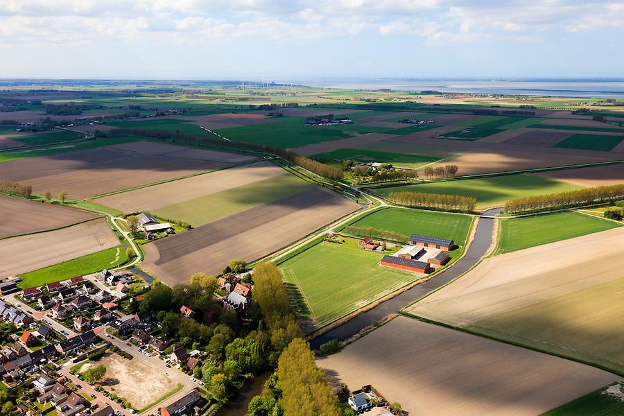 Nederland, Zeeland, Gemeente Terneuzen, 09-05-2013; Biervliet, uitwateringskanaal Nol Zeven. Westerschelde aan de horizon.<br /> A small village between the polders of the province of Zeeland, Westerschelde in the back. <br /> luchtfoto (toeslag op standard tarieven)<br /> aerial photo (additional fee required)<br /> copyright foto/photo Siebe Swart