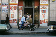 Detroit. U.S.A, September, 1980. America severely marked by the recession. The first to be affected are workers on the bread line and elderly persons without means. Another store holds a sale before closing its doors.