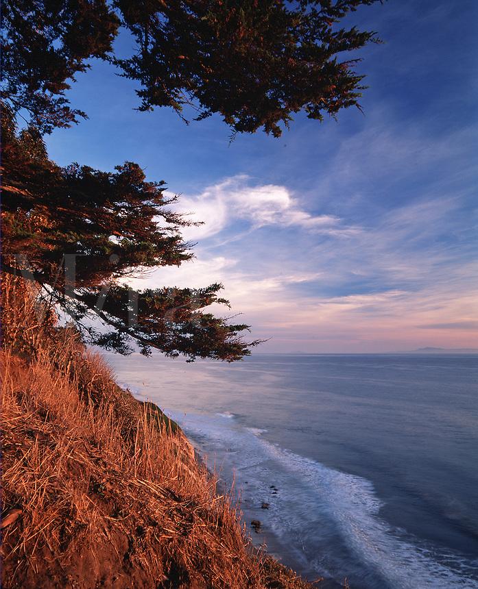 Scenic seascape of the coastline of the Arroyo Burro Beach County Park as seen from the Douglas Family Preserve. Santa Barbara, California.