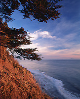 Scenic seascape of the coastline of the Arroyo Burro Beach County Park as seen from the Douglas Family Preserve. Santa Barbara, California.