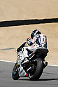 July 25, 2010 - Laguna Seca, USA - Fiat-Yamaha team's Spanish rider, Jorge Lorenzo, shows his happiness with winning just after finishing the U.S. Grand Prix held on July 25, 2010. (Photo Andrew Northcott/Nippon News)