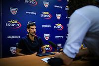 Serbian tennis player Novak Djokovic speaks during a news conference at the Arthur ASHE stadium during the US Open 2015 tennis Tournament in New York. 08.29.2015.  Eduardo MunozAlvarez/VIEWpress.