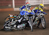 Heat 5 - Nicki Pedersen (green), Edward Kennett, Steve Johnston (red) - Arena Essex Hammers vs Eastbourne Eagles - Sky Sports Elite League 'B' - 04/10/2006 - MANDATORY CREDIT: Gavin Ellis/TGSPHOTO