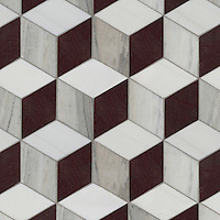 Euclid Grand, a hand-cut mosaic, shown in polished Red Lake, polished Afyon White and honed Horizon, is part of the Illusions™ Collection by Sara Baldwin Designs for New Ravenna.