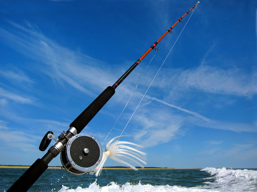 A fishing rod sits ready on a charter boat off the coast of Martha's Vineyard.