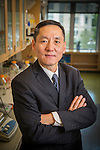 Jiaoti Huang, MD, PhD, Chair of Pathology, in his research lab where he studies prostate cancer in the Snyderman Building (GSRB). (Noteworthy Faculty)