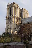 Bell Towers, Notre Dame de Paris, 1163 ? 1345, initiated by the bishop Maurice de Sully, Ile de la Cité, Paris, France. Picture by Manuel Cohen