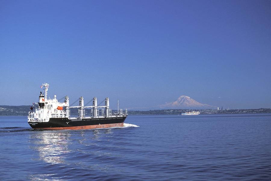 Ship on Puget Sound with Mount Rainier in background, Washington
