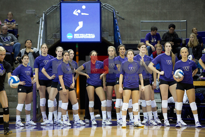 The University of Washington volleyball team defeated Central Arkansas 3-0 in the first round of the NCAA tournament held at Alaska Airlines Arena on the campus of the University of Washington in Seattle on Friday November 30, 2012. (Photo by Scott Eklund /Red Box Pictures)