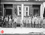 Mail carriers and other postal employees outside of the United States Post Office in Waterbury, circa 1920.