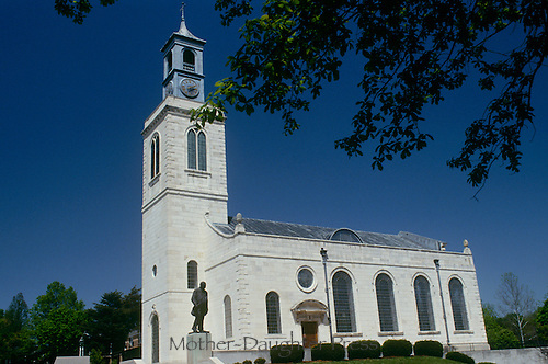 """Fulton Missouri Chapel at Missouri College designed by Christopher Wren and statue of Winston Churchill where he gave the """"iron curtain"""" speech"""