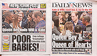 Front pages on Tuesday, December 9, 2014 of the New York Daily News and the New York Post use similar headlines to report on the previous evening's visit of the Duke and Duchess of Cambridge to the Barclays Center in Brooklyn to watch a basketball game during their royal visit to New York. While there the royal cupel were greeted by Beyonce and Jay-Z. (© Richard B. Levine)