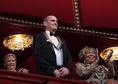 2016 Kennedy Center Honoree singer James Taylor waves at the beginning of the Kennedy Center Honors, at the Kennedy Center, December 4, 2016, Washington, DC.  The 2016 honorees are: Argentine pianist Martha Argerich; rock band the Eagles; screen and stage actor Al Pacino; gospel and blues singer Mavis Staples; and musician James Taylor.<br /> Credit: Aude Guerrucci / Pool via CNP