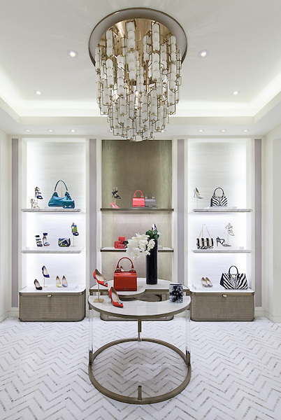 Raj, a marble mosaic by New Ravenna. <br /> <br /> Jimmy Choo&rsquo;s 200-square-meter dual gender store in Xian, China introduces its open floor plan with a grand, four sided fa&ccedil;ade providing transparency into the store. The rounded corners and set back entrance areas with illuminated open shelving behind create a unique appearance to draw the visitors into the store. About one third of the exterior cladding is more opaque; whereas, the face of the store is open and inviting. Building on the new store design concept established by David Collins Studio, Xian&rsquo;s architectural history regarding Feng Shui principles is reflected in Christian Lahoude Studio and project architect Katharina Hoerath&rsquo;s design elements with exterior and interior spaces that create great harmony and symmetry.<br /> <br /> Source: retaildesignblog.net/2015/05/10/jimmy-choo-store-by-christian-lahoude-studio-xian-china/