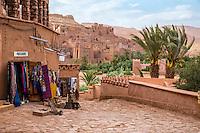 Morocco.  Souvenir Shop on Path Leading to Ait Benhaddou Ksar, a World Heritage Site.
