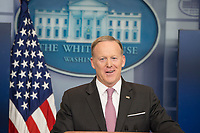Washington DC, April13, 2017, USA:  Sean Spicer, the White House Press Secretary provides the White House Press with updated information about the latest military action and President Trump's travel plans for Florida.  <br /> CAP/MPI/PYL<br /> &copy;PYL/MPI/Capital Pictures