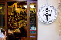 Italian artisan cheese shop, Del Bottega Naturista in Corso Rossellino  in Pienza, Tuscany, Italy