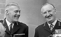 RUC Assistant Chief Constable Sam Bradley, left, with Chief Constable Sir Arthur Young, who was parachuted in from the City of London Police to implement the Hunt Report. Taken - April 1970. 197004000128a<br /> <br /> Copyright Image from Victor Patterson,<br /> 54 Dorchester Park, Belfast, UK, BT9 6RJ<br /> <br /> t1: +44 28 90661296<br /> t2: +44 28 90022446<br /> m: +44 7802 353836<br /> <br /> e1: victorpatterson@me.com<br /> e2: victorpatterson@gmail.com<br /> <br /> For my Terms and Conditions of Use go to<br /> www.victorpatterson.com