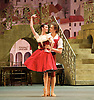 Don Quixote <br /> The Bolshoi Ballet <br /> at The Royal Opera House, Covent Garden, London, Great Britain <br /> press photocall / rehearsal <br /> 25th July 2016 <br /> <br /> choreography by Alexei Fadeyechev <br /> <br /> Olga Smirnova as Kitri <br /> Denis Rodkin as Basil <br /> <br /> Photograph by Elliott Franks <br /> Image licensed to Elliott Franks Photography Services