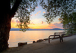 Idaho, North, Kootenai County, Coeur d'Alene. A evening view of Lake Coeur d'Alene along the centennial trail in summer.