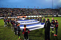 A general view of a giant Bath Rugby shirt on the pitch prior to the match. Aviva Premiership match, between Bath Rugby and Saracens on April 1, 2016 at the Recreation Ground in Bath, England. Photo by: Patrick Khachfe / Onside Images