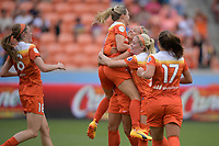 Houston, TX - Saturday April 15, 2017: Janine Beckie, Kealia Ohai, Rachel Daly, Denise O'Sullivan during a regular season National Women's Soccer League (NWSL) match between the Houston Dash and the Chicago Red Stars at BBVA Compass Stadium.