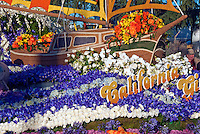"Flower covered floats used in 2010  Rose Parade, Tournament of Roses, Pasadena; CA ""California Girls"" Sierra Madre,"