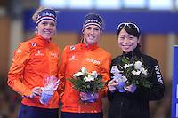 SCHAATSEN: BERLIJN: Sportforum Berlin, 06-12-2014, ISU World Cup, Podium 1000m Ladies Division B, Letitia de Jong (NED), Janine Smit (NED), Miyako  Sumiyoshi (JPN), ©foto Martin de Jong