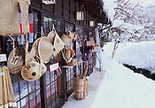 Snowy scenes showing traditional Japanese rural architecture.