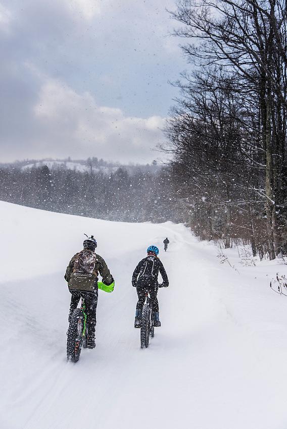 Scenes along the course of the 906 Polar Roll winter fat bike race in Marquette, Michigan.
