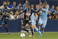 Union midfielder Keon Daniel  (26) in action..Sporting Kansas City defeated Philadelphia Union 2-1 at LIVESTRONG Sporting Park, Kansas City, KS.