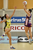 Elias Shadrock ( Pulse ) and Verity Simmons ( Firebirds ) in action during the ANZ Championship - Mojo Pulse v Queensland Firebirds at Te Rauparaha Arena, Porirua, New Zealand on Sunday 8 March 2015. <br /> Photo by Masanori Udagawa. <br /> www.photowellington.photoshelter.com.
