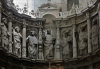 Sculptures of Jesus and the apostles in the Chapel of the Holy Sacrament, 1566, by Jean de Rouen, in the Old Cathedral of Coimbra, or Se Velha de Coimbra, a 12th century Romanesque Roman Catholic cathedral in Coimbra, Portugal. The Renaissance chapel was commissioned by the Bishop Count Joao Soares, who attended the Council of Trent. The cathedral was designed by Master Robert, a French architect, with the works overseen by Master Bernard and Master Soeiro. It was reworked in the 16th century, with the addition of tiled decoration, a portal and Renaissance chapel. The city of Coimbra dates back to Roman times and was the capital of Portugal from 1131 to 1255. Its historic buildings are listed as a UNESCO World Heritage Site. Picture by Manuel Cohen
