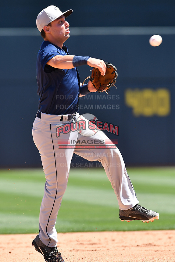 Infielder Michael Paez (3) of the Columbia Fireflies during the team's first workout of the season on Sunday, April 2, 2017, at Spirit Communications Park in Columbia, South Carolina. (Tom Priddy/Four Seam Images)