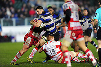 David Sisi of Bath Rugby takes on the Gloucester Rugby defence. Anglo-Welsh Cup match, between Bath Rugby and Gloucester Rugby on January 27, 2017 at the Recreation Ground in Bath, England. Photo by: Patrick Khachfe / Onside Images
