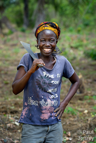 "Alice Sampea, 32, is one of several dozen women who work together to grow cassava on a six-acre farm in Mount Barclay, Liberia. The income-generating project, called ""Say No to Poverty,"" is administered by the National Federation of Women Employees and Allied Workers, with financial support from United Methodist Women."