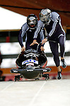 19 November 2005: Todd Hays pilots the USA 1 sled to a 3rd place - bronze medal finish at the 2005 FIBT AIT World Cup Men's 2-Man Bobsleigh Tour at the Verizon Sports Complex, in Lake Placid, NY. Mandatory Photo Credit: Ed Wolfstein.