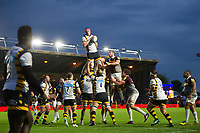 Kearnan Myall of Wasps wins the ball at a lineout. Aviva Premiership match, between Harlequins and Wasps on April 28, 2017 at the Twickenham Stoop in London, England. Photo by: Patrick Khachfe / JMP