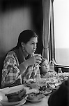Rita Coolridge and daughter Casey 1978 having breakfast on a train travelling from West Berlin through East Germany to West where she and her husband Kris Kristofferson were giving a series of concerts. Other at the breakfast were staff travelling with her and Casey.