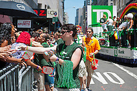 TD Bank promotion in the 43rd annual Lesbian, Gay, Bisexual and Transgender Pride Parade on Fifth Avenue in New York on Sunday, June 24, 2012. The parade took place on the one year anniversary of the legalization of gay marriage in New York.  (© Richard B. Levine)